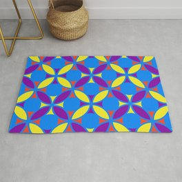 Geometric Floral Circles Vibrant Color Challenge In Bold Red Yellow Purple & Blue Rug