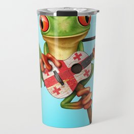 Tree Frog Playing Acoustic Guitar with Flag of Georgia Travel Mug