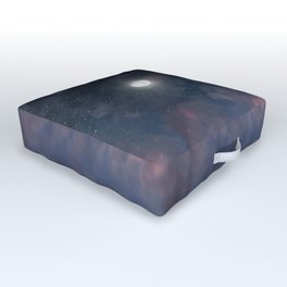 Glowing Moon on the night sky through pink clouds Outdoor Floor Cushion