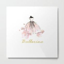 Pink Ballerina And Flowers Metal Print