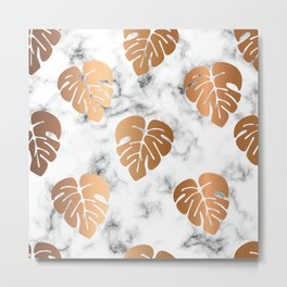 Golden Monstera on Marble Pattern 048 Metal Print