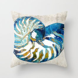 Beachy Art - Nautilus Shell Bleu - Sharon Cummings Throw Pillow