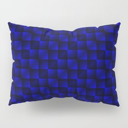 Fashionable large lozenges from small blue intersecting squares in gradient dark cage. Pillow Sham