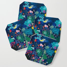 Brightly Rainbow Tropical Jungle Mural with Birds and Tiny Big Cats Coaster