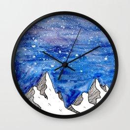 Watercolour mountains Wall Clock