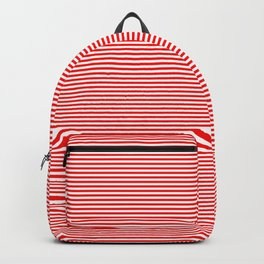 Thin Berry Red and White Rustic Horizontal Sailor Stripes Backpack