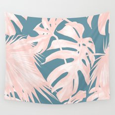 Palm Leaves Pink Coral on Deep Ocean Blue Wall Tapestry