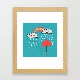 April showers rainbow Clouds Teal #nursery Framed Art Print