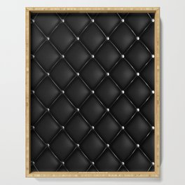 Black Quilted Leather Serving Tray