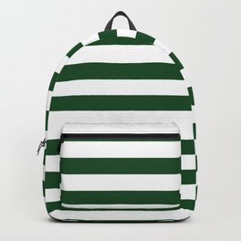 Large Forest Green and White Rustic Horizontal Beach Stripes Backpack