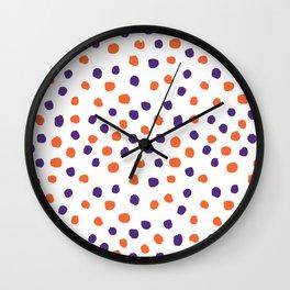 Orange and purple clemson polka dots university college alumni football fan gifts Wall Clock