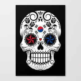 Sugar Skull with Roses and Flag of South Korea Canvas Print