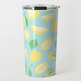 Lemon Pattern Blue Travel Mug