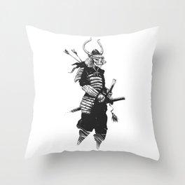 Samurai skull , grim reaper illustration , zombie warrior Throw Pillow
