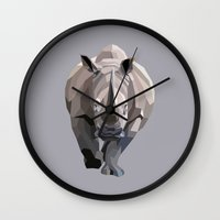 rhino Wall Clocks featuring Rhino by Liam Brazier