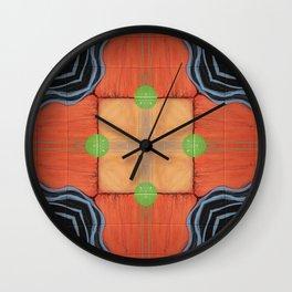 Sojourner // Tribal Geometric Vibrant Visionary Abstract Pattern Orange Black Bohemian Color Shape Wall Clock