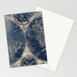 Antique World Map Gold Navy Blue Library Stationery Cards