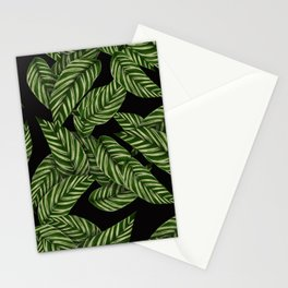 Green & Black Tropical Leaves Pattern Stationery Cards