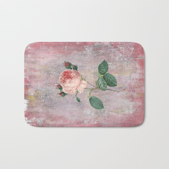Vintage Rose - on pink grunge background  - Roses and flowers Bath Mat