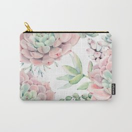 Pink Succulents by Nature Magick Carry-All Pouch