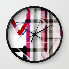 Red Black White Abstract Drawing Wall Clock