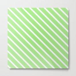 Spearmint Diagonal Stripes Metal Print