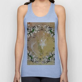 Saxophone with flowers Unisex Tank Top