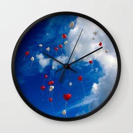 Drifting Heart Balloons Wall Clock