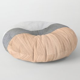 Carrara Marble, Concrete, and Teak Wood Abstract Floor Pillow