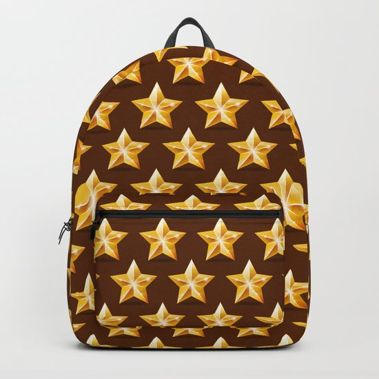Gold Stars on Brown Background Backpack