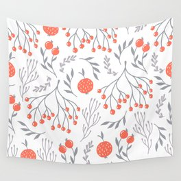 Red Berry Floral Wall Tapestry