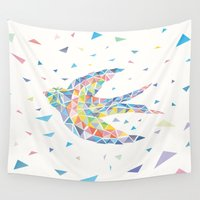 swallow Wall Tapestries featuring Triangled Swallow  by XOOXOO