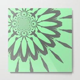 The Modern Flower Pastel Green Gray Metal Print