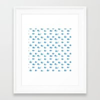whales Framed Art Prints featuring whales by Maya Bee Illustrations