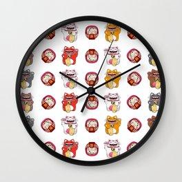 Colorful Maneki - neko pattern design Wall Clock