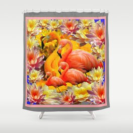 YELLOW & PINK WATER LILIES & SAFFRON FLAMINGOS  ABSTRACT Shower Curtain