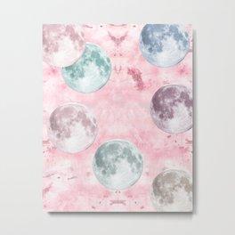 Moon Phases Pink Moon Yoga Mat Metal Print
