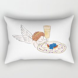 Illustration of Little angel holding a glass of champagne and a plate of pie with creamy caviar Rectangular Pillow