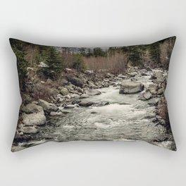 Winter Begins - River Mountain Nature Photography Rectangular Pillow