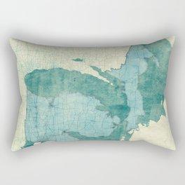 Michigan State Map Blue Vintage Rectangular Pillow
