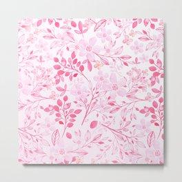 Hand painted hot pink watercolor modern floral Metal Print
