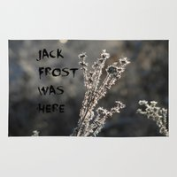 jack frost Area & Throw Rugs featuring Jack Frost Was Here by AdrienneW