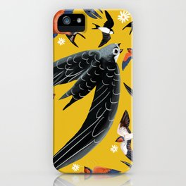 Swallows Martins and Swift pattern Yellow iPhone Case