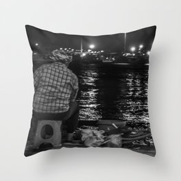 Fisherman in the night Throw Pillow