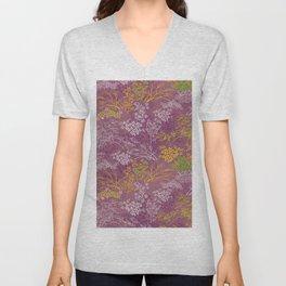 Japanese pattern floral purple Unisex V-Neck