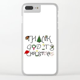 Ornamental and Ironic Thank God It's Christmas  Clear iPhone Case