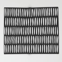 Classy Handpainted Stripes Pattern Black, Scandinavian Design Throw Blanket