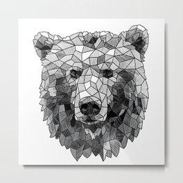 Sketchy Geometric Grizzly Bear Metal Print