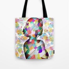Abstract Mosaic Woman Silhouette Tote Bag