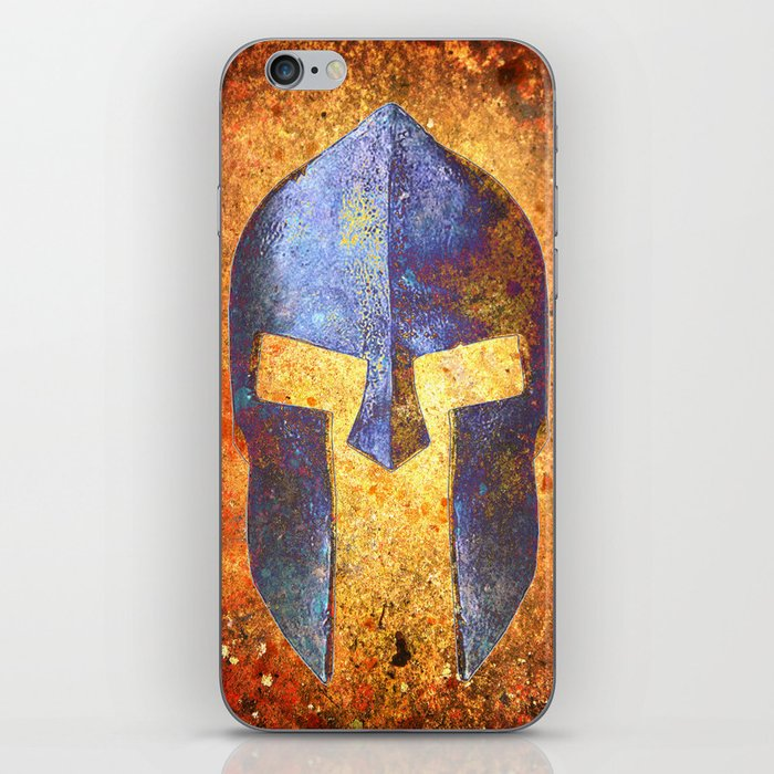 Blue Spartan Helmet On Rust Background - Molon Labe iPhone Skin by  molonlabecreations